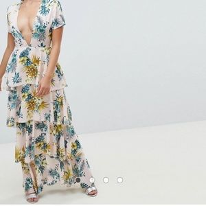 Plunge Tiered Maxi Dress